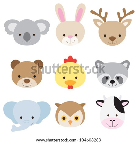 Vector illustration of animal face set.