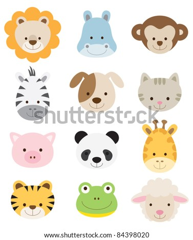 Vector illustration of animal faces.