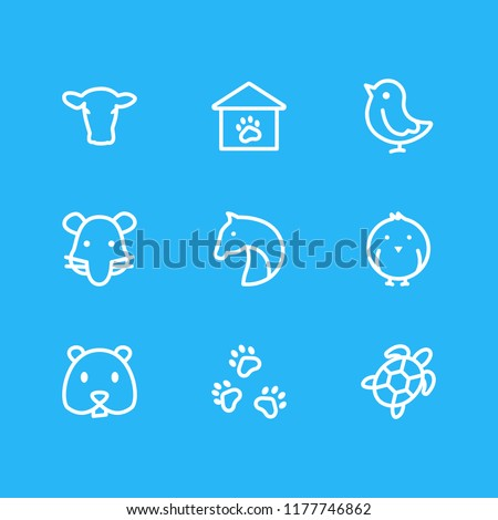 Vector illustration of 9 animal icons line style. Editable set of horse, rat, pet and other icon elements.