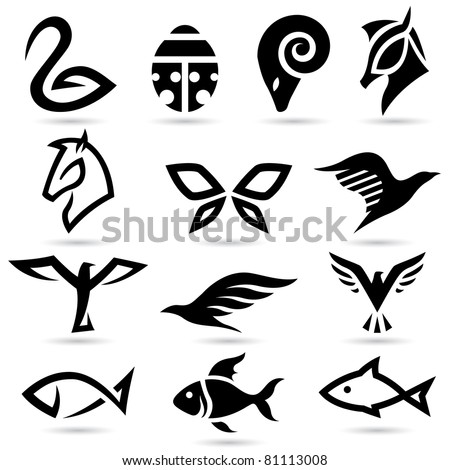 Vector illustration of animal icons silhouettes
