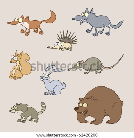 Vector illustration of animals - fox, wolf, bear, hedgehog, rat, squirrel, hare, racoon