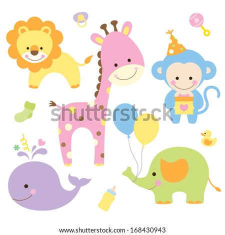 Vector Illustration Of Animals In Party Theme. - 168430943 ...