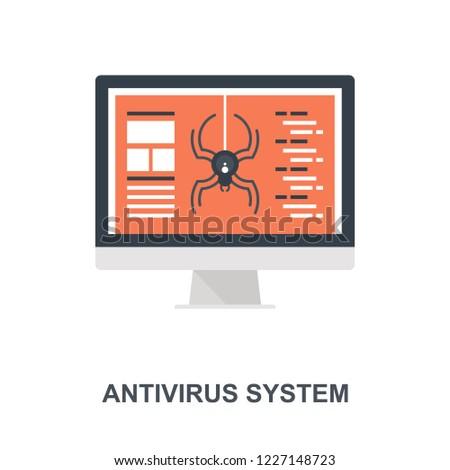 Vector illustration of antivirus system flat design concept.