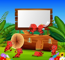 vector illustration of ants and beautiful wooden house with a wooden sign