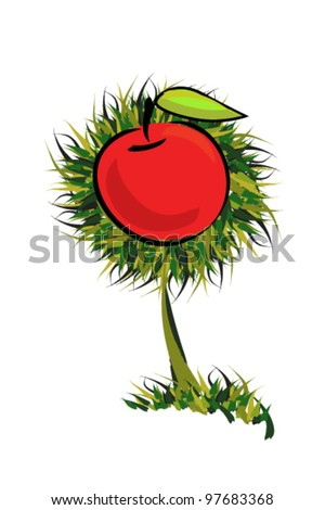 vector illustration of  aple tree