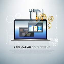 Vector illustration of app development and coding process. App development. Coding process. Programming concept. Realistic laptop with tools. Realistic laptop. Coding concept. Application development