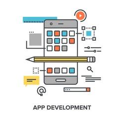 Vector illustration of app development flat line design concept