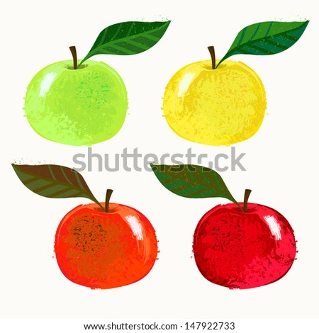 Technique of Illustration Drawing Vector Illustration of Apple