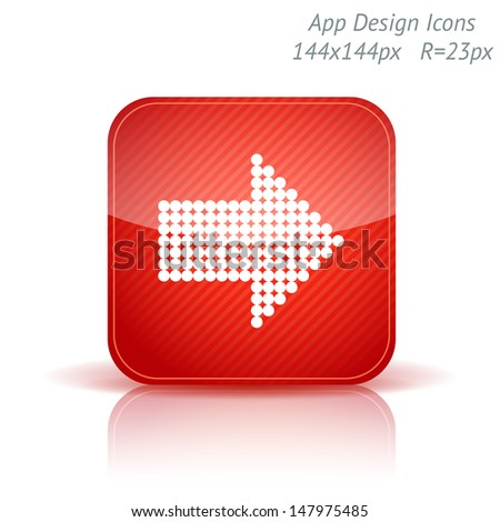 Vector illustration of apps glossy icon template. Right direction arrow. Background with diagonal strips. - stock vector