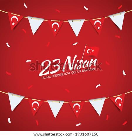 Vector Illustration of 23 April, National sovereignty and children's day (23 nisan, ulusal egemenlik ve cocuk bayrami)