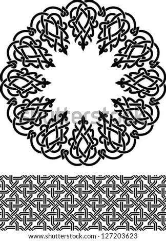 Vector illustration of arabic circle and border ornament. Stencil for decor.