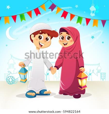 Vector Illustration of Arabic Young Muslim Boy and Girl Celebrating Ramadan