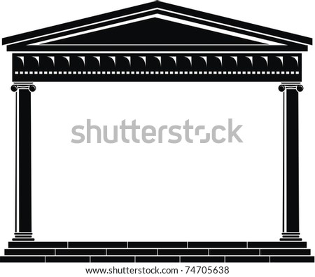 Vector illustration of architectural element - Portico of ancient temple: black and white, isolated,  white background