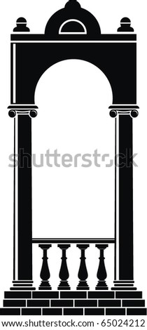 Vector illustration of architectural element - Silhouette of an arch: black, isolated, white background