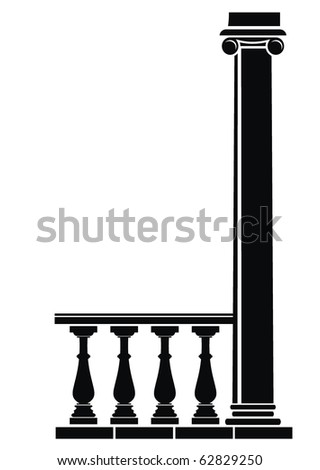 Vector illustration of architectural element - Silhouette of balustrade and column: black, isolated, white background