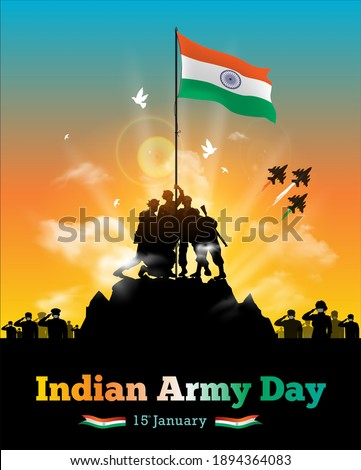 vector illustration of Army day of India, Republic day celebration background with soldiers hold up Indian flag, applaud victory, people appreciating, clapping and saluting Indian army soldier parade