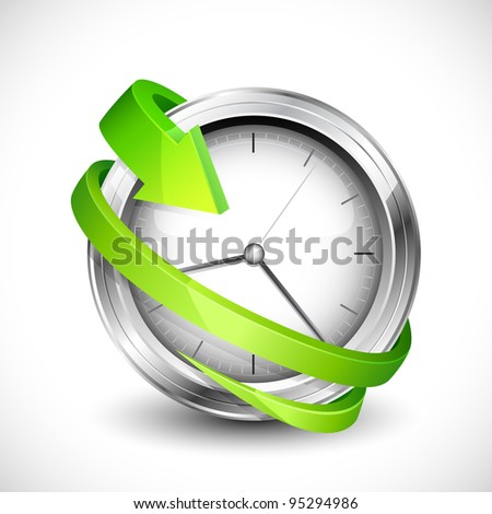 vector illustration of arrow moving around wall clock