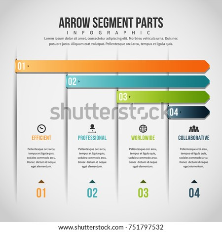 Vector illustration of Arrow Segment Parts Infographic design element.