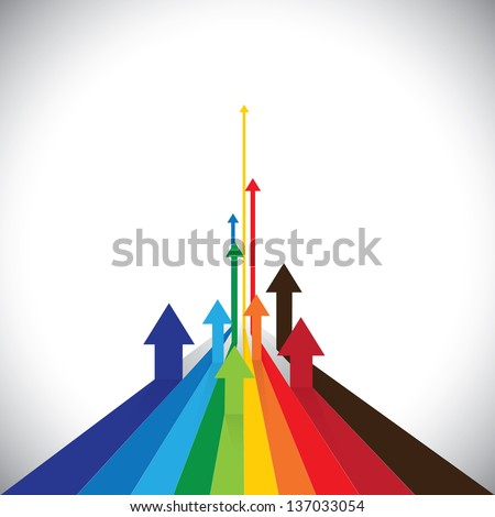 Vector illustration of arrows showing some winners and some losers. This colorful graphic can also represent sales of competitors or employee performances or asset performance, etc