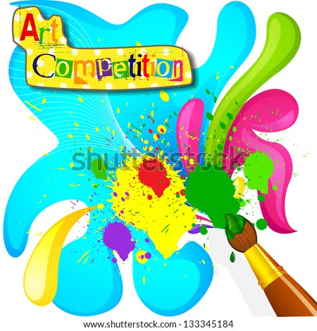 vector illustration of art and painting competition poster