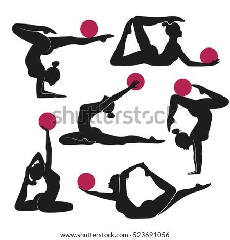 Vector illustration of art of rhythmic gymnastics Lifestyle icons set female silhouettes of gymnasts. Rhythmic gymnastics with a ball.  Female sports, fitness, gym, health, beauty