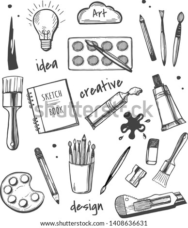 Vector illustration of art supplies icons set. Watercolors, sketchbook, paint, pencil, brush, eraser, light bulb, creative, idea, stroke, design, art. Vintage hand drawn style.