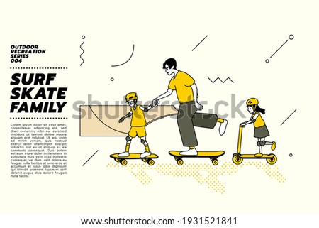 Vector illustration of Asian family, father and kids go surfing with skateboard or surf skate and kick scooter at ramp track or skate park on modern style abstract with composition background. Сток-фото ©