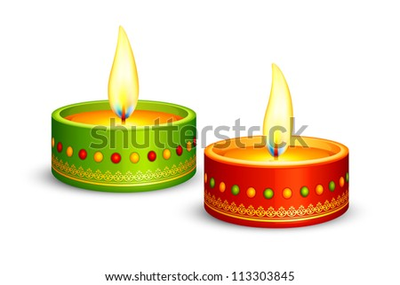 vector illustration of assorted decorated diya for Indian Diwali