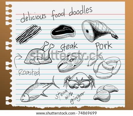 vector illustration of assorted food doodles