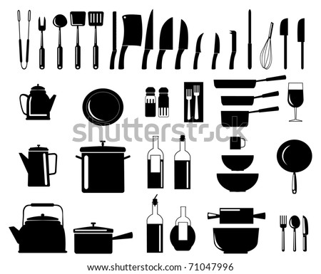 Kitchen Utensils Silhouette Vector Free collection of plates and cutlery vectors - download free vector