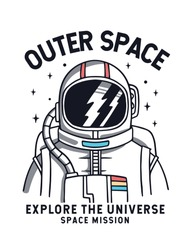 Vector illustration of astronaut in space, for t-shirt prints, posters and other uses.