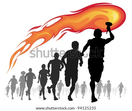 Vector illustration of Athletes with a flaming torch.