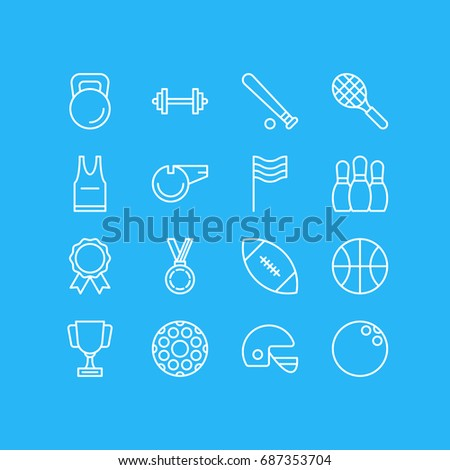 Vector Illustration Of 16 Athletic Icons. Editable Pack Of Blower, Goblet, Rocket And Other Elements.