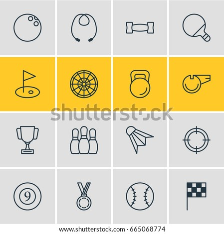 Vector Illustration Of 16 Athletic Icons. Editable Pack Of Sniper, Badminton, Cue And Other Elements.