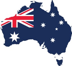 vector illustration of Australia map with flag