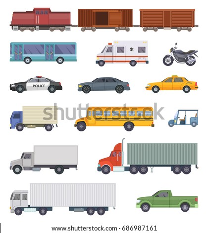 Vector illustration of automobile, trucks and motorcycles isolate on white