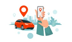 Vector illustration of autonomous wireless parking remote connected car sharing service controlled via smartphone app. Hands holding phone location mark of smart electric car in modern city skyline.