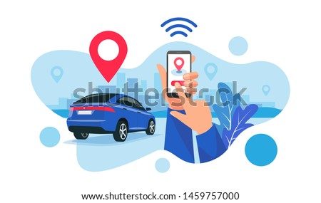 Vector illustration of autonomous wireless remote connected car sharing service controlled via smartphone app. Hands holding phone with location mark of smart electric car in the modern city skyline.