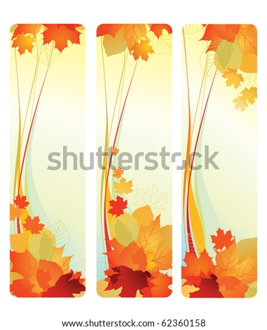 Vector illustration of autumn banners with leafs. - stock vector