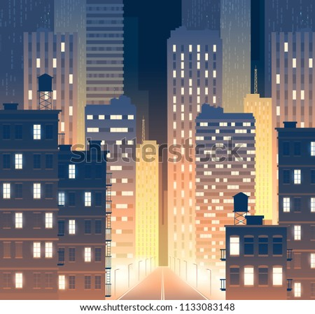 Vector illustration of avenue with modern buildings at night. Background of road with lamp posts with urban large buildings - skyscrapers. Townish street, municipal concept for banner, poster.