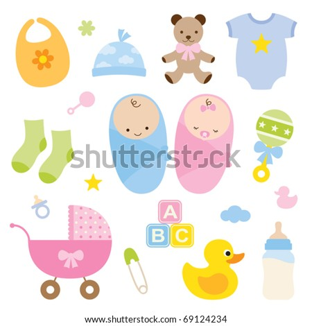 Vector illustration of babies and baby products.