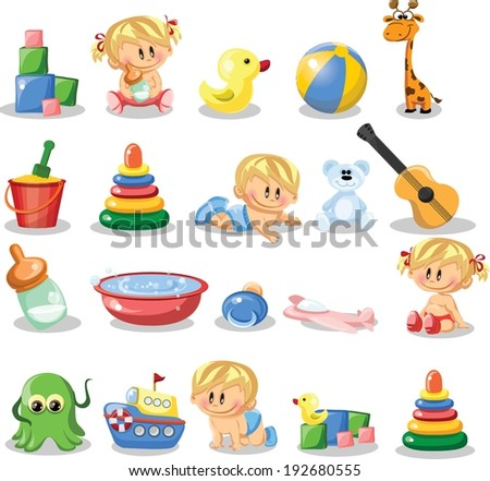 Vector illustration of baby boys, baby girls and nursery accessories