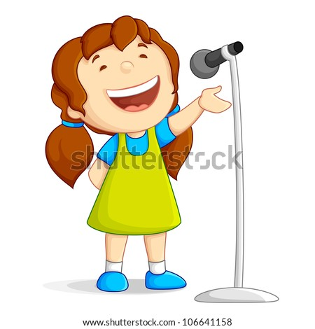vector illustration of baby girl singing loudly against white background