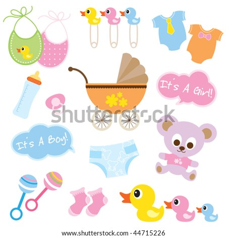Vector illustration of baby products.