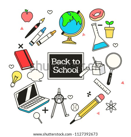 Vector illustration of back to school banner  with school supplies