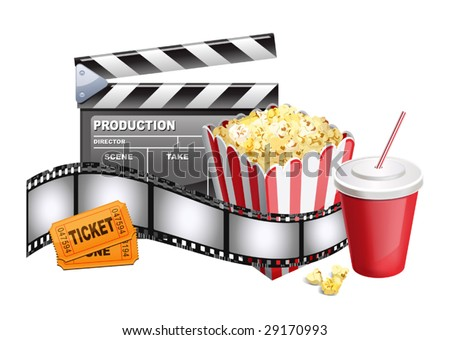 vector illustration of background of movie related items - stock vector