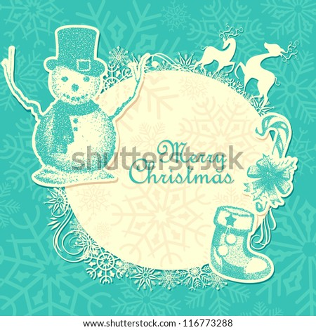 vector illustration of background with snowman and deer for Christmas