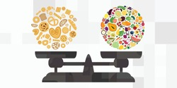 vector illustration of baked goods and fruits scale for healthy balanced diet and gluten levels