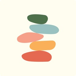 Vector Illustration of balance made of colored stones. Balance concept. Zen stones flat design style.