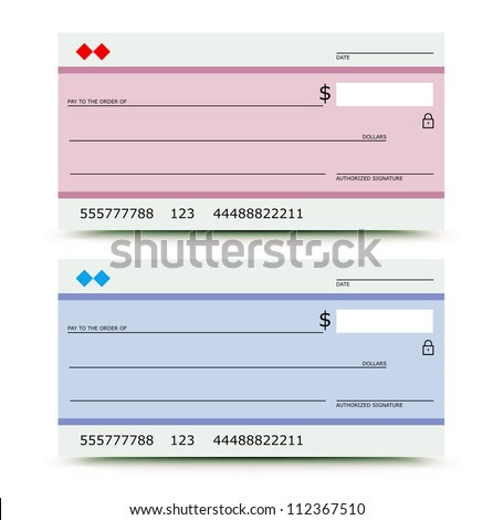 Vector illustration of bank check in two variations -  pink and blue